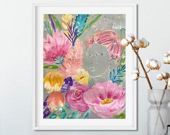 Original Painting, Impressionism, Abstract Flowers, Frida Kahlo, Feminist Art, Modern Art, Acrylic Painting, Wall Art, Original Art