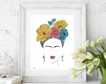 Watercolor Art Print, Feminist Art, Frida Kahlo, Original Art, Mexican Art, Gallery Wall Prints, Frida Print, Wall Decor, Floral,