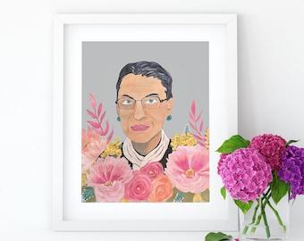 RBG Print, Ruth Bader Ginsburg, Notorious RBG, Art Print, Feminist Art, Original Art, Gallery Wall, Wall Decor, Feminist Gift,