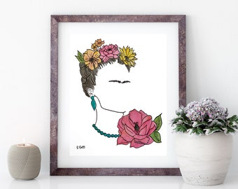 Watercolor Art Print, Feminist Art, Frida Kahlo, Original Art, Mexican Art, Gallery Wall Prints, Frida Inspired Print, Wall Decor