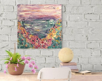 """Original Abstract Canvas Painting, """"Miles Away"""", 12"""" x 12"""" canvas, Wall Art Canvas, Abstract Canvas, Acrylic Painting, Art, Flowers"""