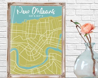 Minimalist City Map, New Orleans, Street Map, Map Wall Art, City Map Poster, Wall Art, Map Art, New Orleans Poster