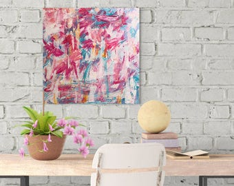 """Original Abstract Canvas Painting, """"Stay True"""", 12"""" x 12"""" canvas, Wall Art Canvas, Abstract Canvas, Acrylic Painting, Art, Abstract Birds"""