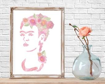 Frida Kahlo, Watercolor Art, Printable Art, Watercolor, Mexican Art, Instant Download Art, Floral, Watercolor Print, Dia de los Muertos