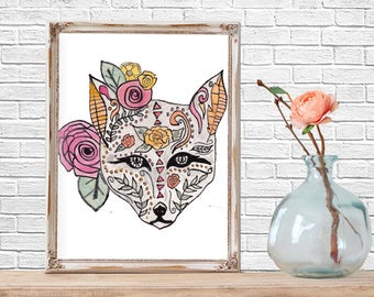 Boho Fox Wall Art, Watercolor, Watercolor Fox, Wall Art, Watercolor Print, Printable Art, Wall Decor, Nursery Decor
