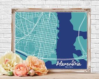 Minimalist City Map, Alexandria Virginia, Street Map, Map Wall Art, City Map Poster, Wall Art, Map Art, Old Town Alexandria Virginia