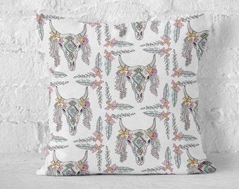 Southwestern Skull Decorative Pillows, Boho Cow Skull, Feather Decor, Boho Pillow, Throw Pillows, Watercolor Art, Bohemian, Pillow Cover