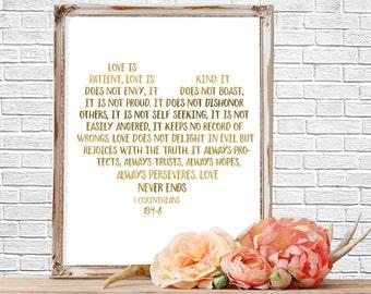 Quote Prints, Bible Verse Quote,  Love is Patient, Art Print, Wall Art,  Printable, Bible Verse Sign, Wedding Decor, Wedding Decor, Gold