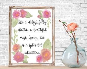 Quote Prints, Wedding Decor, Watercolor Art Print, Watercolor Quote, Typography, Printable, Quote Art, Love, Home Decor, Wedding Decor,