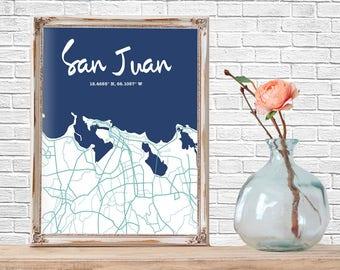 Minimalist City Map, San Juan, Street Map, Map Wall Art, City Map Poster, Wall Art, Map Art, Puerto Rico Map, San Juan Puerto Rico
