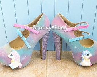 aa727fe4ab Unicorn heels. Fantasy unicorn shoes. Unicorn ladies shoes