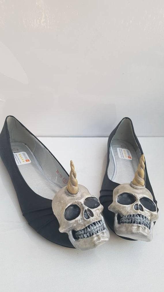 Unicorn skull slip on shoes. ballerina