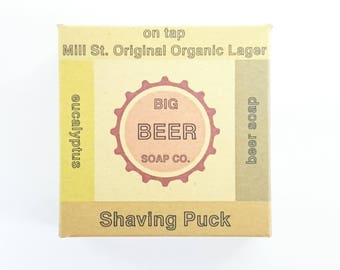 Beer Soap, Shaving Puck made with Mill St Organic Lager