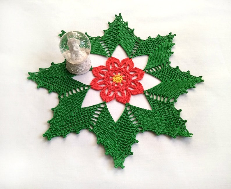 Crochet Christmas Doily Crochet Table Decor Holiday 10 5 Poinsettia Christmas Doily Christmas Table Decor Holiday Tabletop Decor