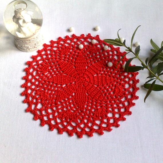 Häkeln Sie Roten Deckchen 55 Kleine Deckchen Zarte Etsy