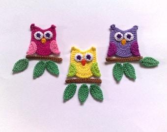 Crochet owl Applique  Embellishments Crochet Applique Leaf Owl embellishment Crochet bird applique