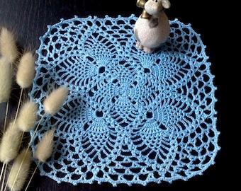 Blue crochet doily Hand crochet doilies Table decoration Square  doily Crochet tablecloth Housewarming gift