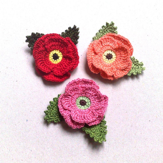 Crochet 1 poppies and 2 green leaves handmade flowers red etsy image 0 mightylinksfo