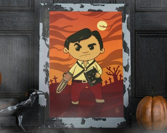 Ash - PRINTABLE horror cute illustration perfect for Halloween and great gift for geeks, movie nerds, 80s kids and horror fans!