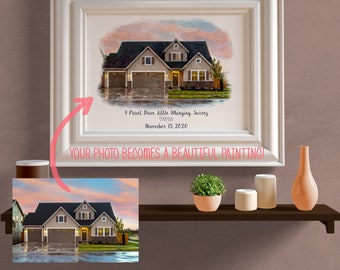 Custom House Portrait | Housewarming Gift | First Home Gift | Home Illustration | Watercolor Home Portrait | Realtor Closing Gift | Home Art