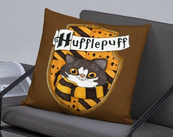 Brown and gold Throw Pillow Hogwarts House