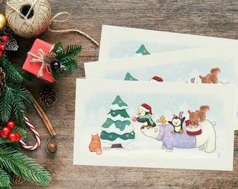 PRINTABLE Christmas Card - Watercolor funny animals