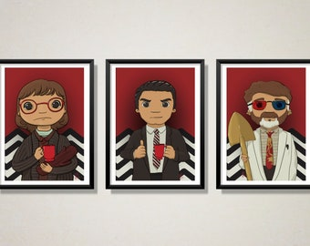 Twin Peaks best characters - Art Print Limited Edition single or full set | perfect for Halloween | great gift for geeks and horror fans!