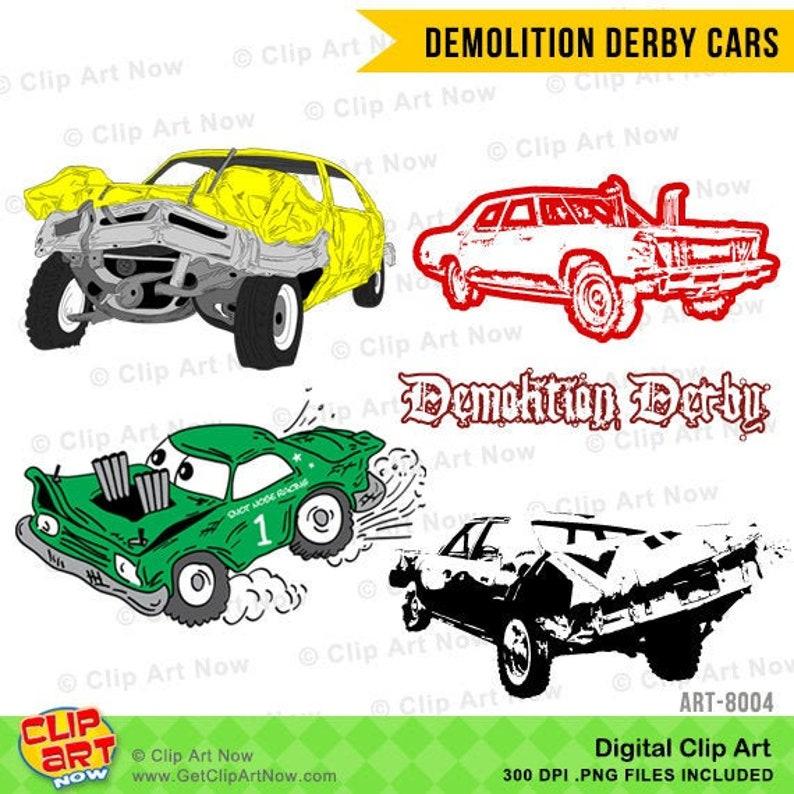 Demolition Derby Cars Digital Clip Art image 0