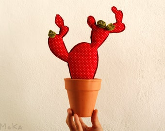Prickly Red Dots Flamenco Potted Cactus Textile. Patchwork Fabric.