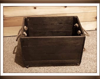 Rustic Reclaimed Wood Rolling Storage Crate, Large Wooden Crate, Storage  Crate, Rustic Wooden Storage Box On Wheels, Organizer,