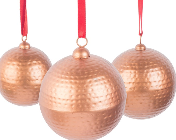 Copper Coated Ornament Trio