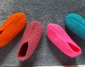 Soft Comfortable Warm Ladies Hand Knitted Slippers House Shoes Slippers Handmade Knitted Slippers Gift Idea House Guest and Hostess Gift