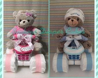 Four Wheeler Diaper Quad - 4 Wheeler Diaper Cake - Diaper Cake - Boy Diaper Cake - Girl Diaper Cake - Baby Gift - Baby Shower