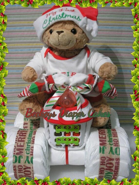 Babys 1 Weihnachten 4 Wheeler Windel Quad Windel Kuchen Etsy