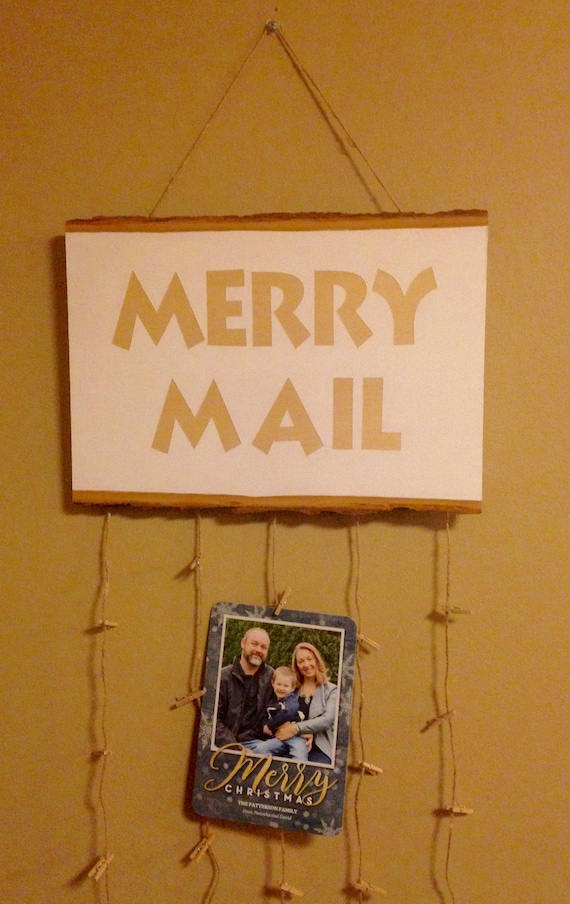 Christmas Cards Display. Merry Mail Sign. Christmas Card | Etsy