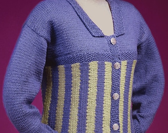 bea0ab7be4a82 PDF Knitting Pattern Sideways Knit Striped Cardigan  109