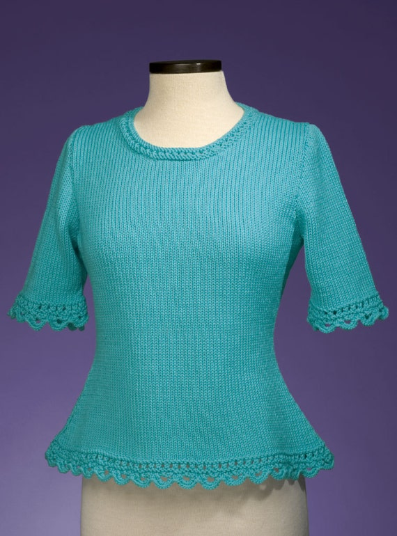 27eabab2e1741 PDF Knitting Pattern Simple Scalloped Edge Pullover 159