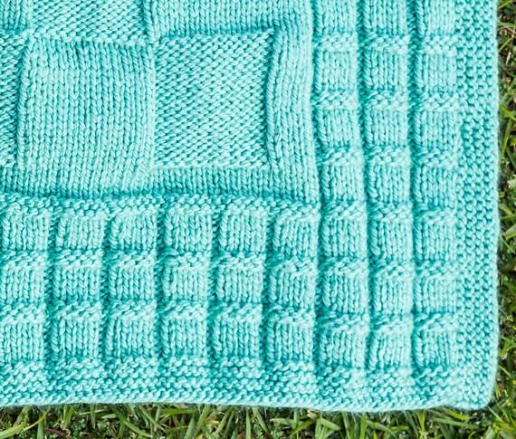 Pdf Knitting Pattern Checkerboard Baby Blanket 713 Etsy