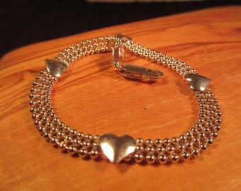 Delicate Sterling Silver Heart Bracelet