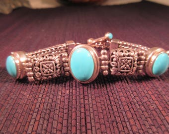 Tribal Sterling Silver Turquoise Toggle Close Bracelet