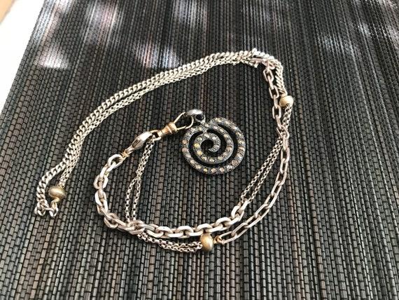 Boho Chic Silver Brass and Diamond Necklace
