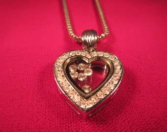 Retro Sterling Silver Floating CZ Heart Necklace