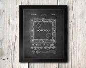 Monopoly Patent Print - Game Room Wall Art - Digital Download
