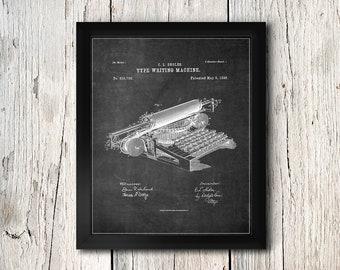 Type Writing Machine Patent Print - Typewriter Poster Print - Office Wall Art - Digital Download