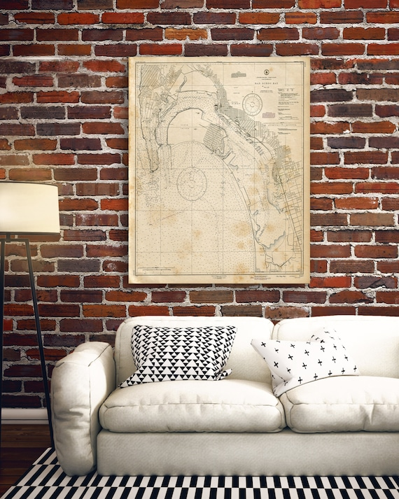 San Diego Maritime Nautical Map World Map Wall Art Poster Etsy