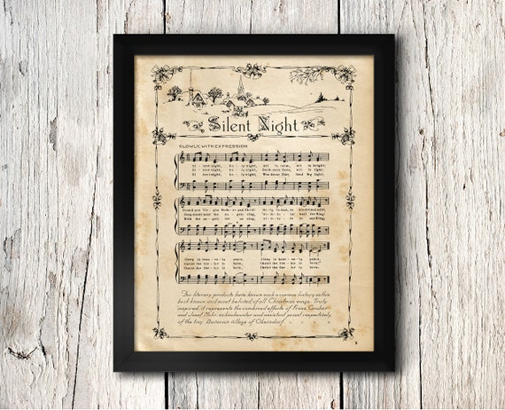 Vintage Silent Night Music Wall Decor Print Sheet Music Artwork Christmas Holiday Decor Music Gift Music Poster Digital Download