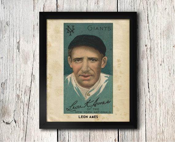 Leon Ames New York Giants Baseball Print Vintage New York Giants Baseball Card Poster Digital Download