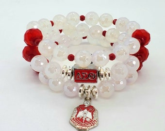 Delta Inspired, Agate Beads, Three Stack, Delta Sigma Theta