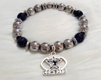 Men's Beaded Bracelet, Stretch Bracelet, Cowboys Bracelet