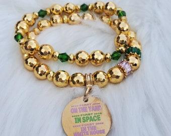 AKA Sorority inspired, Women's Bracelet, Beaded Bracelet, Stretch Bracelet, Pink and Green
